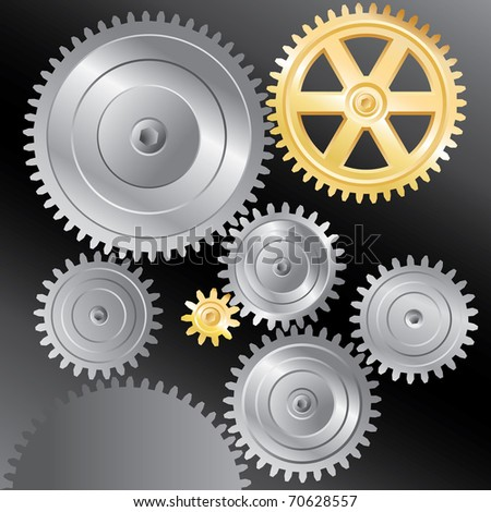 vector background with silver and golden gears - stock vector
