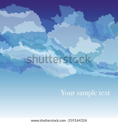 Vector background with sky and clouds, vector illustration - stock vector