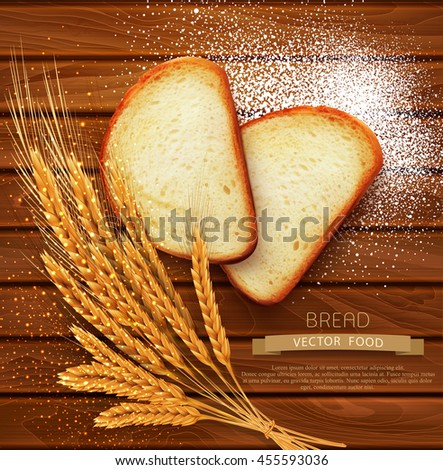 vector background with slices of sliced bread (loaf) lying on the wooden background of scattered with flour and wheat ears - stock vector