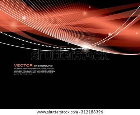 Vector Background with Sparkles. Abstract Red and Black Wavy Illustration. - stock vector