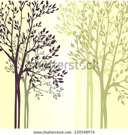 Vector background with spring trees, hand drawn vector illustration - stock vector