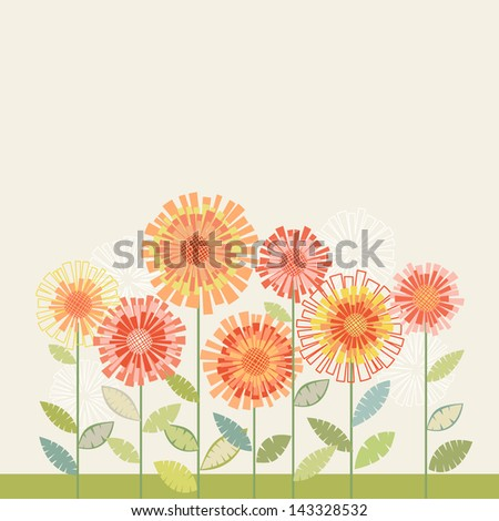 Vector background with stylized orange flower, leaves. Simple invitation and greeting card with bunch of chrysanthemums. Decorative floral abstract cute illustration with stylized flowerbed, text box - stock vector