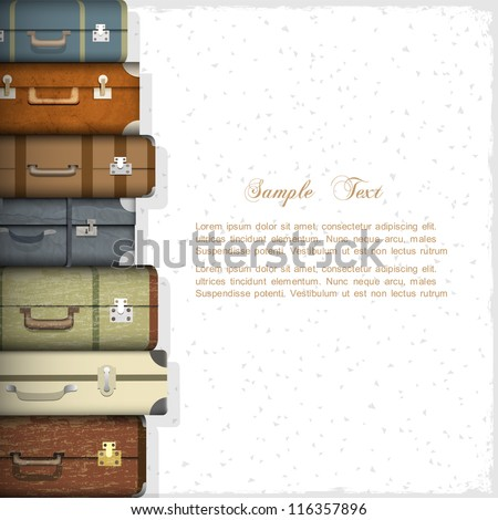 Vector background with suitcases - stock vector
