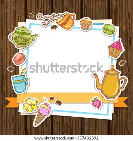 Vector background with tea, coffee and sweets - stock vector