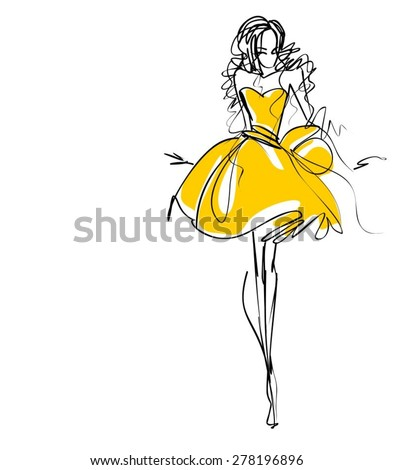 VECTOR Background with the beautiful young woman  - stock vector