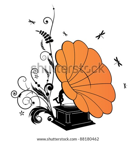 Vector background with the gramophone and dragonflies - stock vector