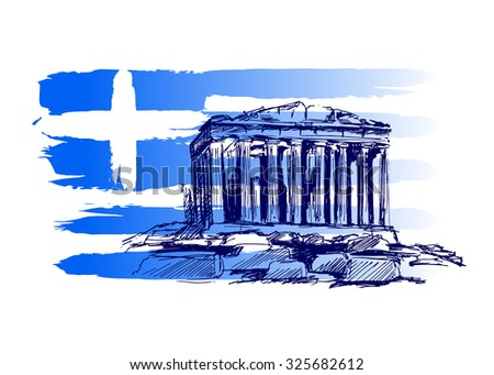 Vector background with the motif of Greece - stock vector