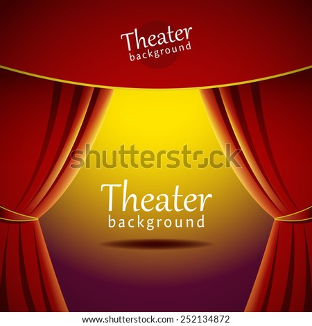 Vector background with theater stage and red curtain - stock vector