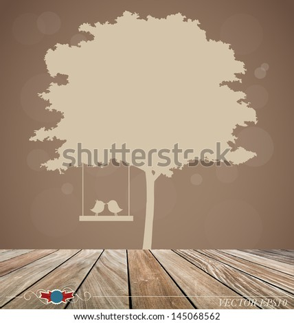 Vector background with tree and bird. Vector Illustration. - stock vector