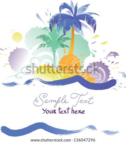 Vector Background with Tropical Beach - stock vector