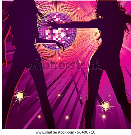 Vector background with two girls dancing in night-club, disco-ball and glitters - stock vector