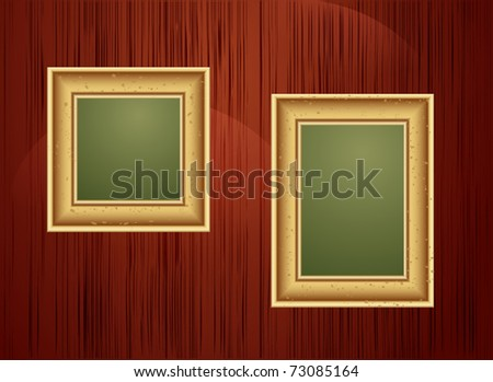 vector background with two gold frames - stock vector