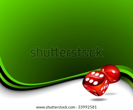 Vector background with two red dices for a casino theme. - stock vector