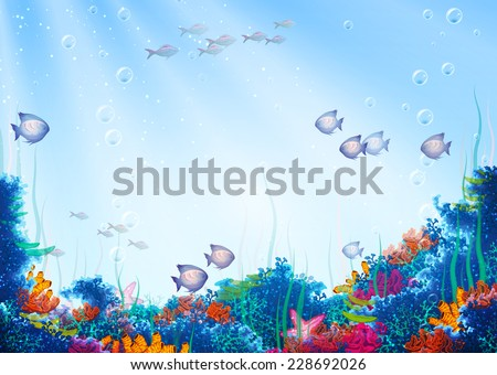 Vector background with underwater cave - stock vector