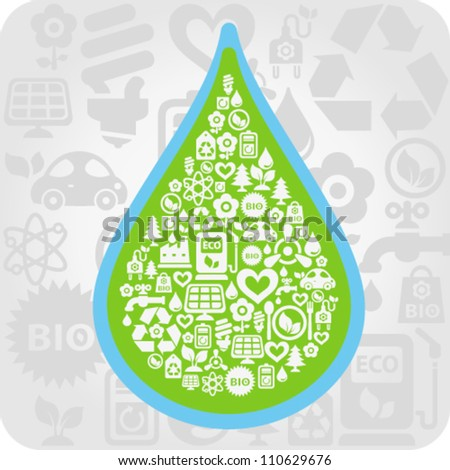 Vector background with water drop contained from ecology icons - stock vector