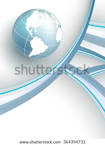 vector background with wavy lines and globe. Eps10