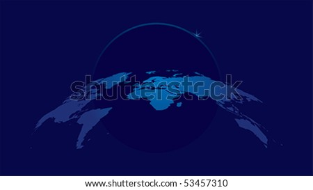 vector background with world map in blue colors