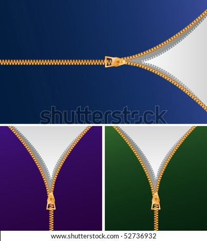 vector background with zipper in three variations - stock vector