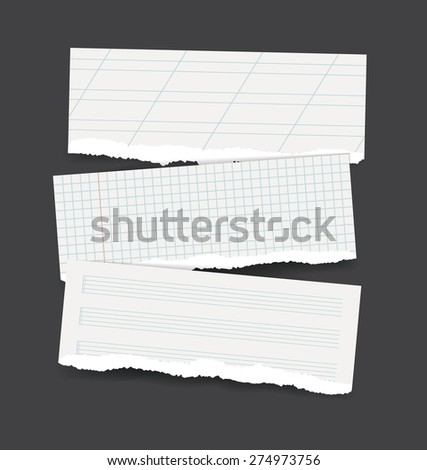 Vector backgrounds set as torn realistic school paper banners - square checked, calligraphy lined and music note sheet patterns - stock vector