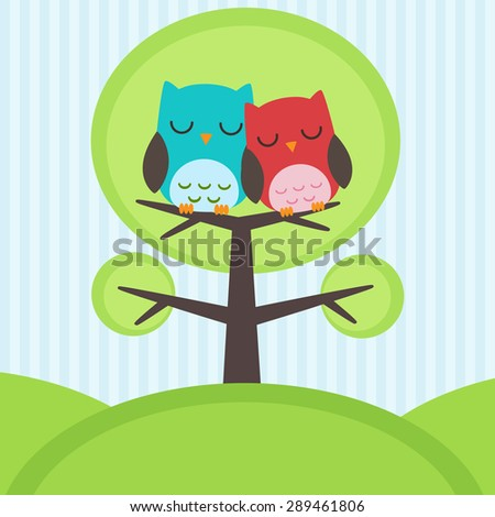 Vector backgrounds with couple of owls on the tree - stock vector