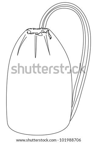 Vector backpack - contour outline illustration on white - stock vector