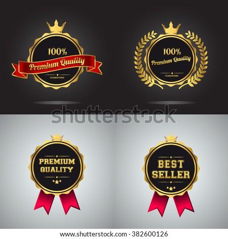 Vector badge collection. Premium quality guaranteed golden label. Best seller golden badge, vector illustration. - stock vector
