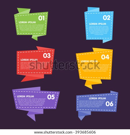 Vector badges flat modern style. Big Set of Vector Label, Sticker, Tags. Collection of Colorful Abstract Badges and Sticker. Origami style sticker. Six different colorful sticker. Advertisement tag. - stock vector