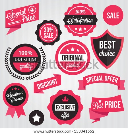 Vector Badges Stickers and Labels Set - stock vector