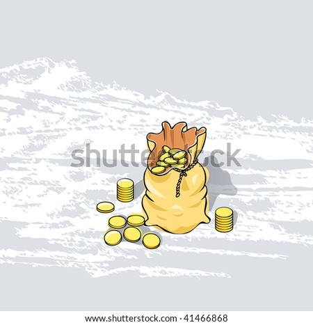 vector bag with golden coins in two layers - stock vector