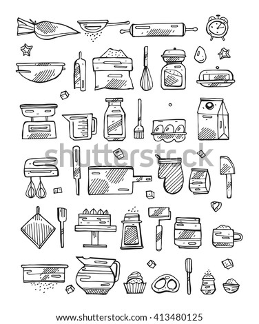 Vector bakery kitchen cooking tools retro stock vector for Kitchen set drawing