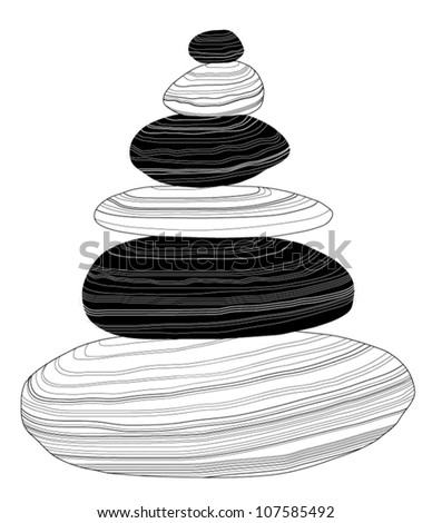 Vector balanced pebbles isolated on white background - stock vector