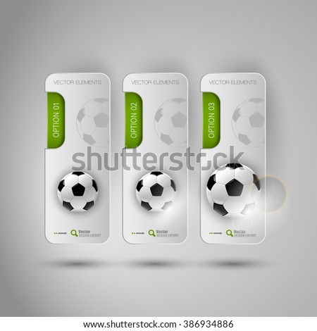 Vector ball of soccer. Realistic football on the gray banners as design elements. Fottballs theme. - stock vector