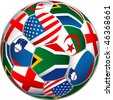 vector ball with flags of group C on World cup in South Africa - stock photo