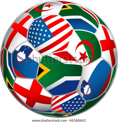 vector ball with flags of group C on World cup in South Africa - stock vector
