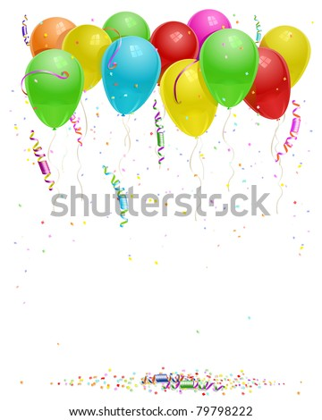 vector balloons background with party streamers and beautiful confetti - stock vector
