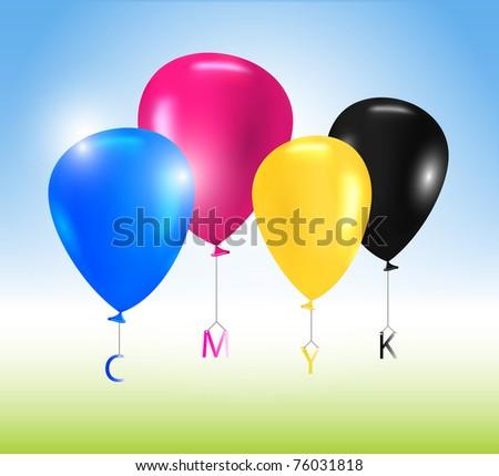 Vector balloons CMYK concept - stock vector