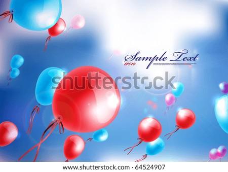 Vector Balloons Fly Above the Sky - stock vector