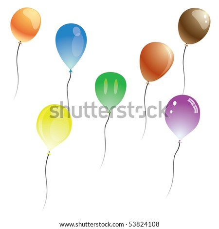 Vector balloons isolated on white background. The different graphics are all on separate layers so they can easily be moved or edited individually. - stock vector