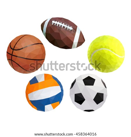 Vector balls for sports on white background.