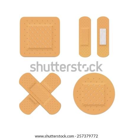 Vector Bandage Plaster Aid Band Medical Adhesive Set Isolated on White Background - stock vector