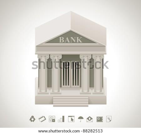 Vector bank icon - stock vector