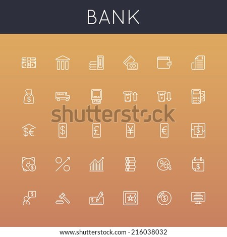 Vector Bank Line Icons - stock vector