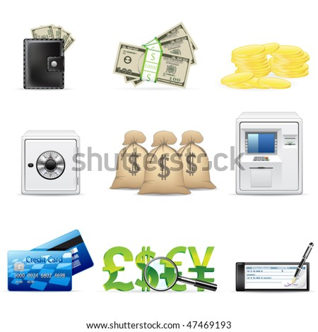 Vector banking and finance icon set