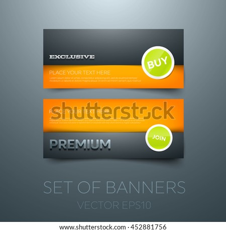 "Vector banner design template. Glossy 3d typography. Layered look. Glossy round stickers. ""Exclusive"" and ""Premium"""