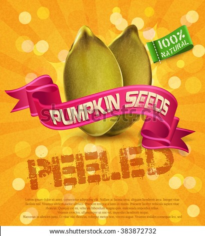 vector banner label (element for design), pumpkin seeds on an orange background with ribbon