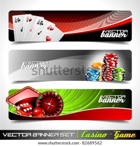 Vector banner set on a Casino theme. - stock vector