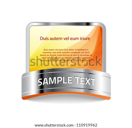 vector banner / sticker / badge with bright yellow abstract background and metallic decoration - stock vector