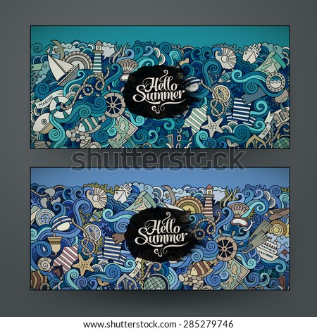 Vector banner templates set with doodles marine theme - stock vector