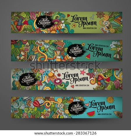 Vector banner templates set with doodles summer theme - stock vector