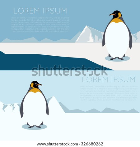 Vector banner with antarctica and penguins - stock vector